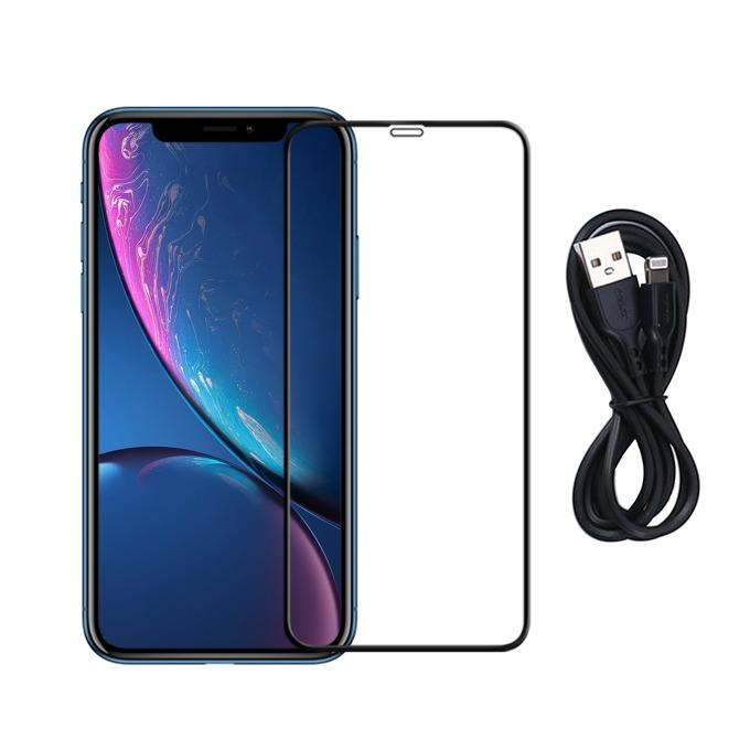 Протектор от закалено стъкло /Tempered Glass/, Remax Warriors, за Apple iPhone XS Max + USB A(м) към Lightning(м), 1.0m, черен image