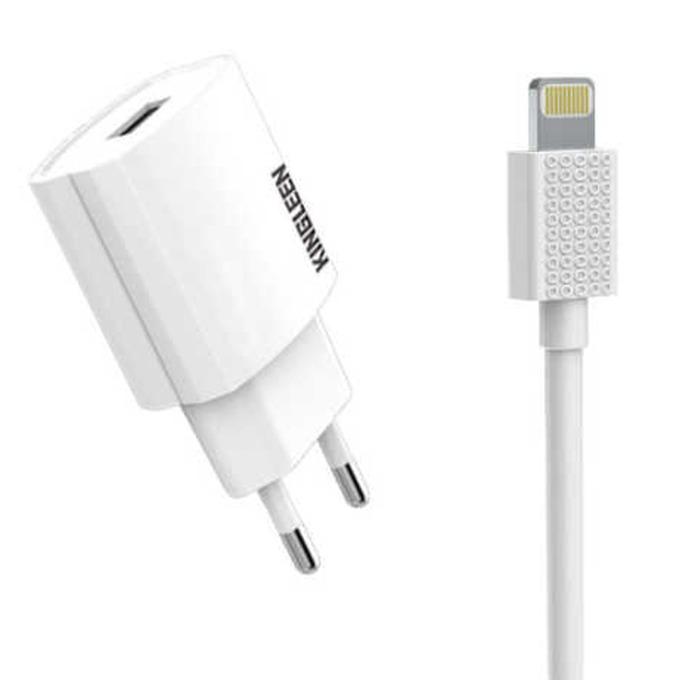 Зарядно устройство Kingleen C850E, от контакт към 1x USB Type A(ж), с кабел Lightning, 5V/2.1A, бяло image