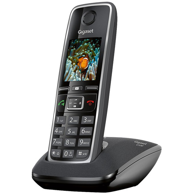 Безжичен телефон Gigaset C530, шестредов цветен дисплей, черен image