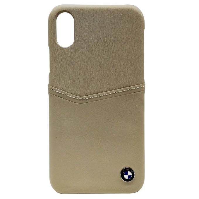 Калъф Apple iPhone X, страничен протектор с гръб, естествена кожа и поликарбонат, BMW Signature Logo Card Case, Shock Absorbent, бежав image