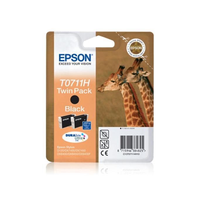 ГЛАВА ЗА EPSON D78/D120/DX4000/DX4050/DX500DX5050/DX6000/DX6050/DX7000F/DX7400/7450/8400/8450/9400 - Black Twin Pack - P№ C13T07114H10 - заб.: 2x11.1ml. image