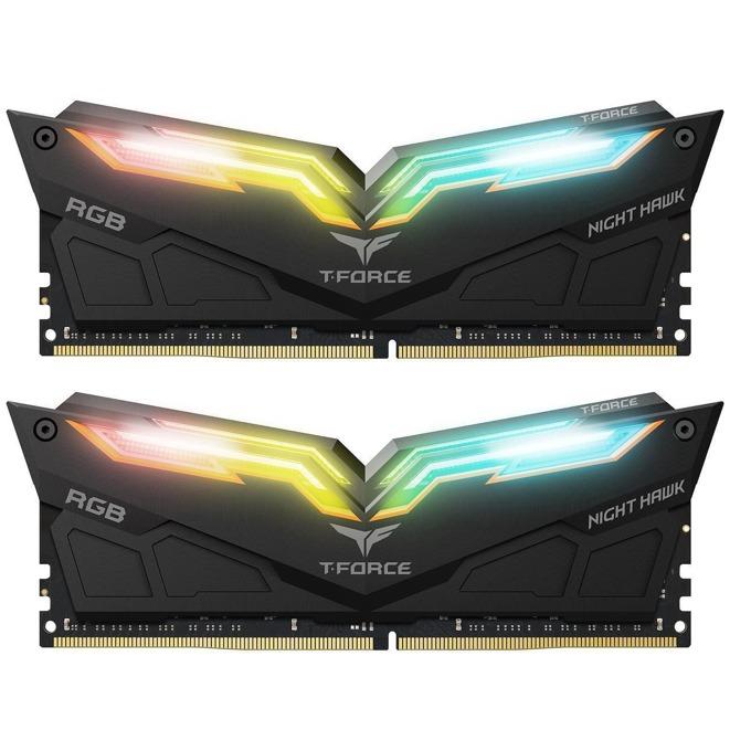 Памет 16GB (2X 8GB) DDR4 4000MHz, Team Group T-Force Night Hawk RGB TF1D416G4000HC18EDC01, 1.35V image