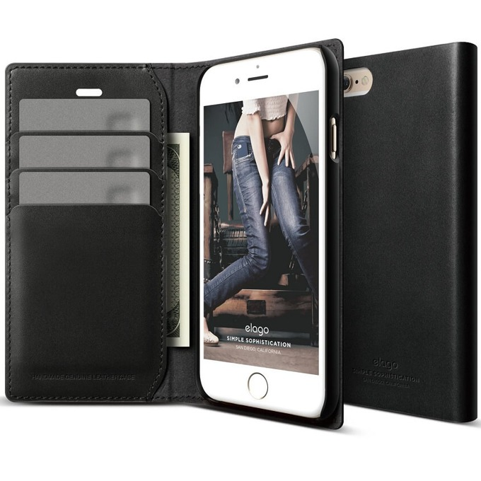 Калъф за iPhone 6, Flip Wallet, кожен от естествена кожа, Elago S6 Leather Wallet Case, черен, HD покритие image