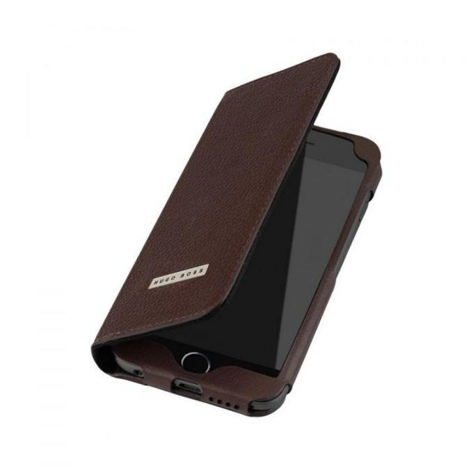 Калъф за iPhone 6, Flip Cover, кожен, HUGO BOSS Folianti, луксозен, кафяв  image