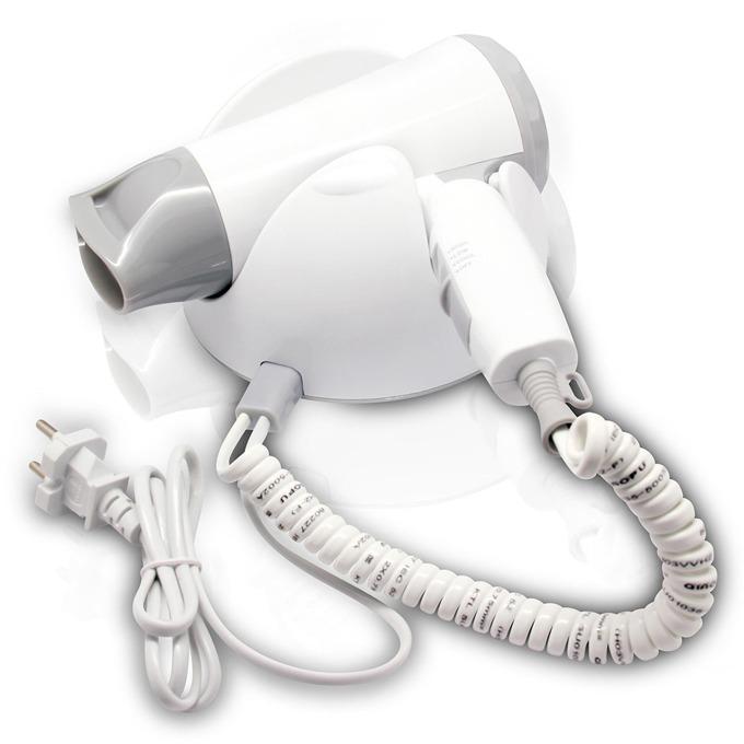 Сешоар Sapir SP 1100 B, 1200W, с поставка за стена, 3 степени, концентратор, сгъваема дръжка, бял image