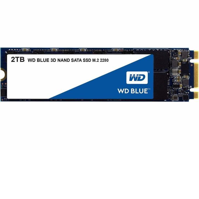 SSD 2TB WD Blue 3D 2280 WDS200T2B0B, NVMe, M.2 2280, скорост на четене 560MB/s, скорост на запис 530MB/s image