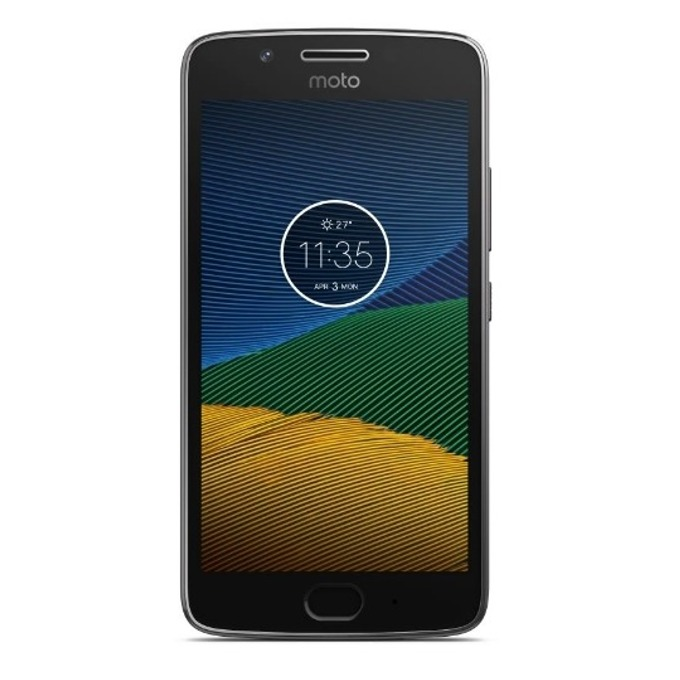 "Смартфон Motorola Moto G5 (сив), поддържа 2 sim карти, 5"" (12.7 cm) Full HD дисплей, осемядрен Snapdragon 430 1.4 GHz, 2GB RAM, 16GB Flash памет (+microSD слот), 13.0 & 5.0 Mpix camera, Android, 145g image"