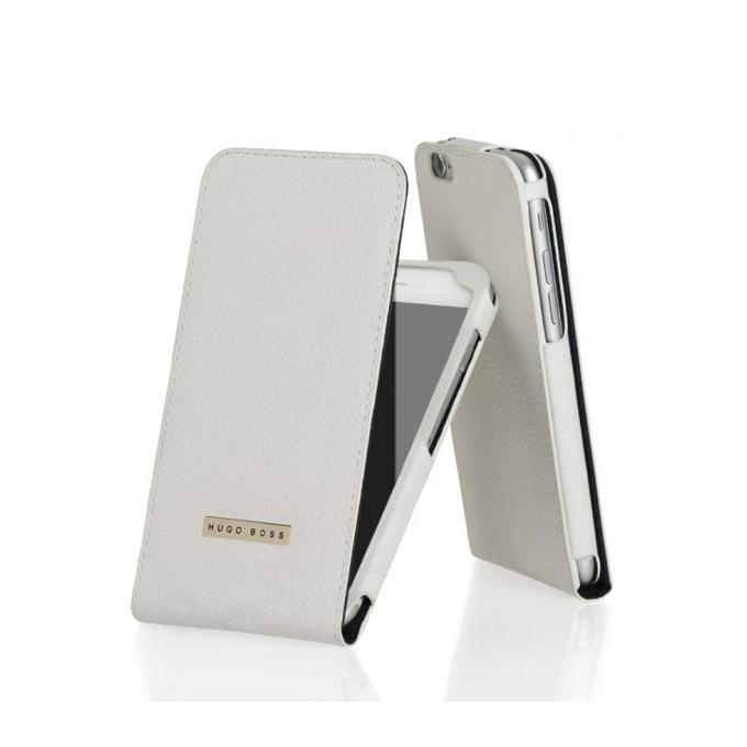 Калъф за iPhone 6, Flip Cover, кожен, HUGO BOSS Reflex, луксозен, бял image