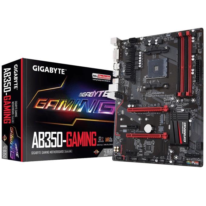Дънна платка Gigabyte GB AB350-GAMING 1.1, B350, AM4, DDR4, PCI-E(HDMI&DVI), CrossFire, 6x SATA 6Gb/s, 1x M.2 slot, 2x USB 3.1 Gen 2, ATX image