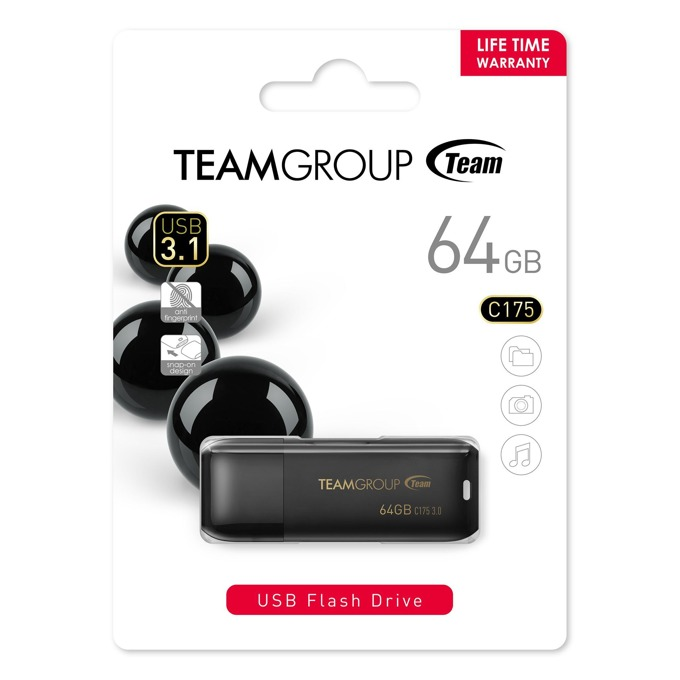 64GB USB Flash Drive, Team Group C175, USB 3.1, черна image