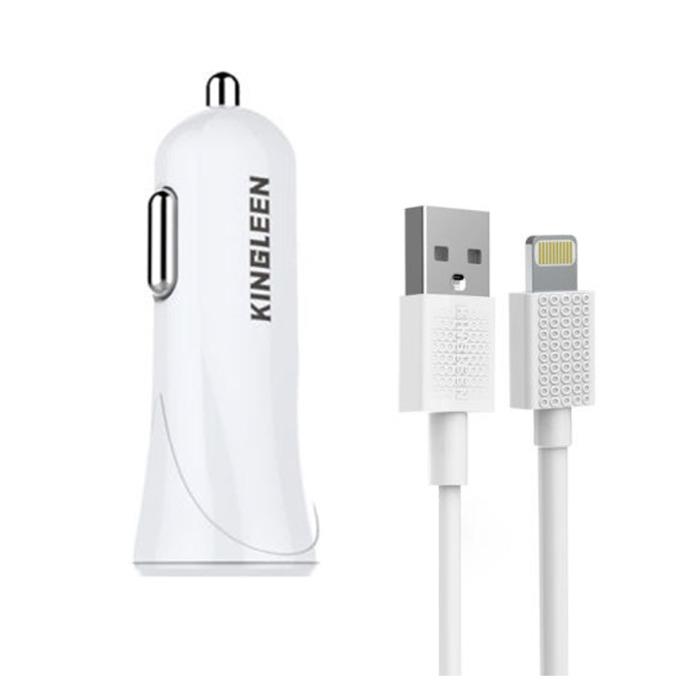 Зарядно за кола Kingleen QL-C902 Ip 7, от авт. запалка към USB A(ж), Lightning кабел, 5V, 2000mAh, бяло image