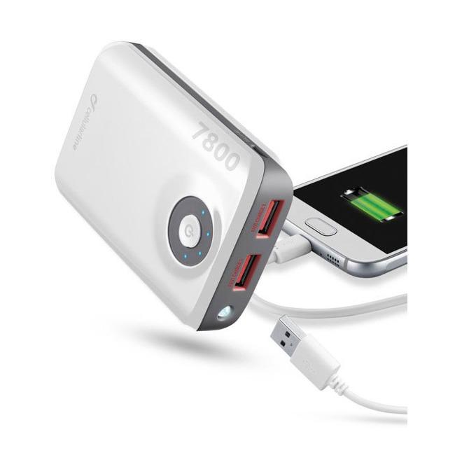 Външна батерия/power bank/ Cellular Line, 7800mAh, бяла, 2x USB, On/Off image