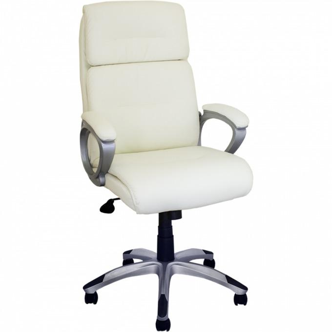 Офис стол OKOffice Shelly, пластмасова база, еко кожа, до 130 кг, бял image