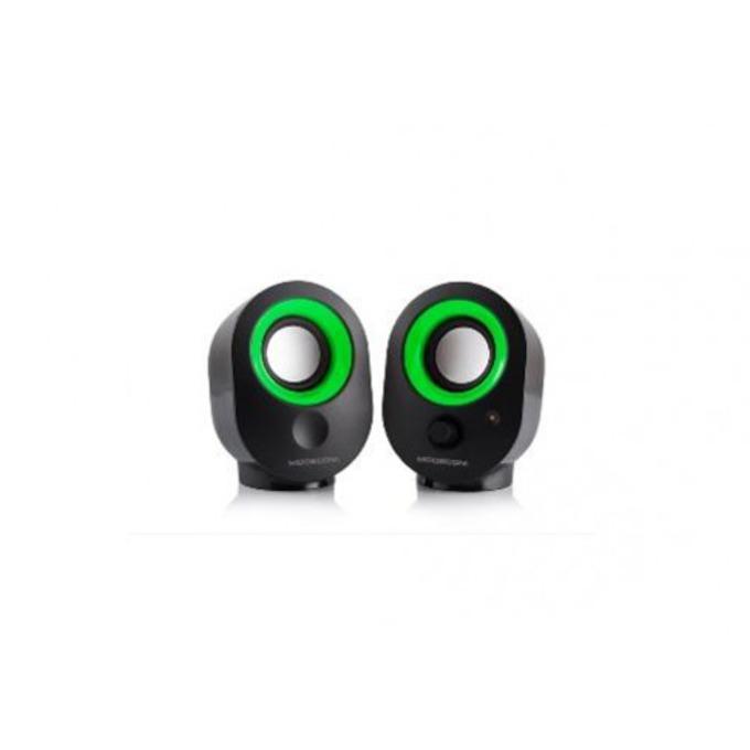 Тонколони Modecom MC-XS05, 2.0, 4W , 3.5mm jack, USB, черно и зелено image
