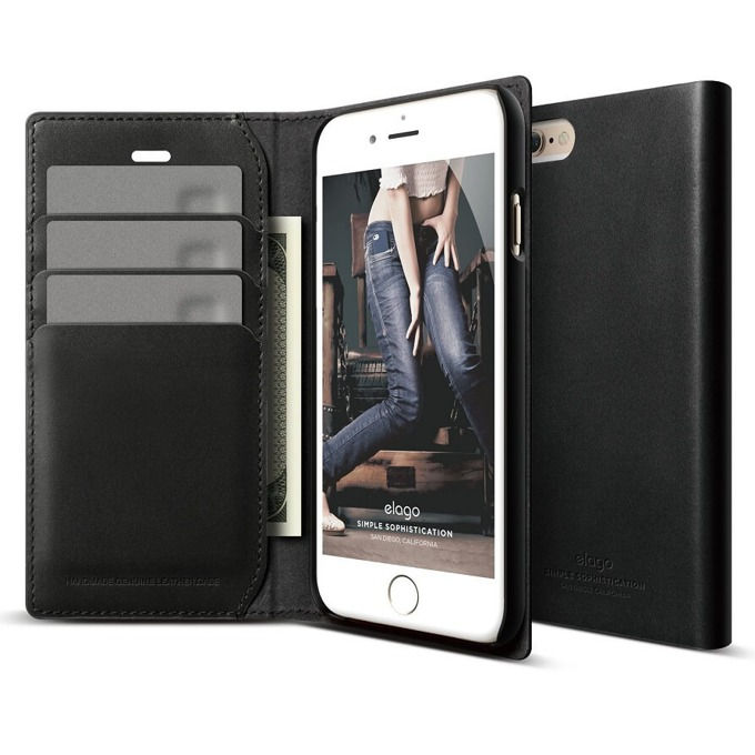 Калъф за iPhone 6 plus, Flip Wallet, кожен от естествена кожа, Elago S6P Leather Wallet Case, черен, HD покритие image