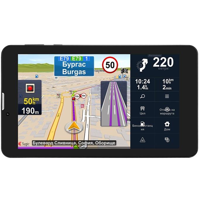 """Навигация за автомобил Prestigio GeoVision Truck, 7""""(17.78cm) IPS сензорен дисплей, Bluetooth, Wi-Fi, 1 GB вградена памет, microSD слот, SIM card слот с вградена камера предна 0.3Mpix, задна 2.0Mpix, карта на Европа, 3 години безплатно обновяване image"""