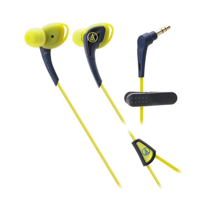 "Слушалки Audio-Technica ATH-SPORT2, тип ""тапи"", ІРХ5 водоустойчивост, 1.2м асиметричен кабел, жълти-сини image"