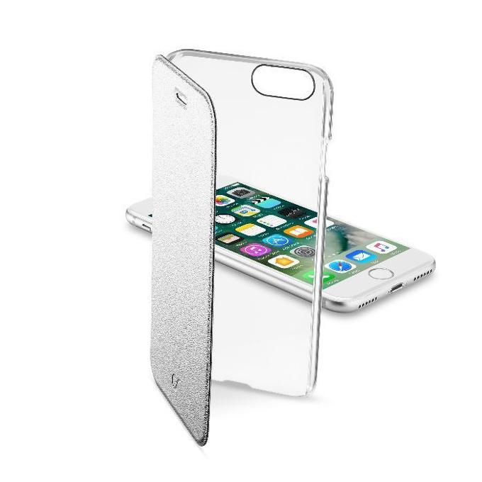 Калъф за Apple iPhone 7, отвараяем, пластмаса, Cellular Line Wallet, с прозрачен капак, сив image