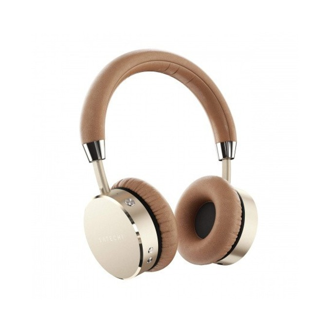 Слушалки Satechi ST-AHPG, безжични (Bluetooth 4.0), до 18 часа време за работа, 3.5мм кабел с микрофон, златисти image