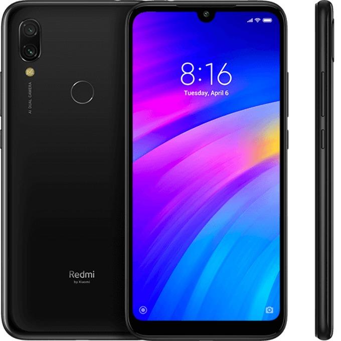 """Смартфон Xiaomi Redmi 7 (черен), поддържа 2 sim карти, 6.26"""" (15.90 cm) HD IPS дисплей, осемядрен 1.8 GHz, 3GB RAM, 64GB Flash памет (+ microSD слот), 12.0 & 2.0 MPix + 8.0 MPix камера, Android, 180g image"""