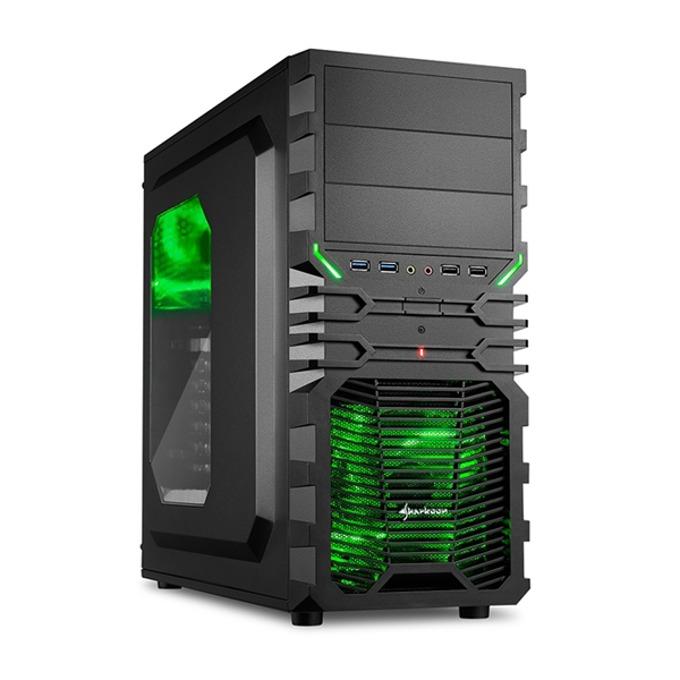 Кутия Sharkoon VG4-W, черна, зелена подсветка, прозорец, Midi Tower, ATX, USB 3.0, без захранване image