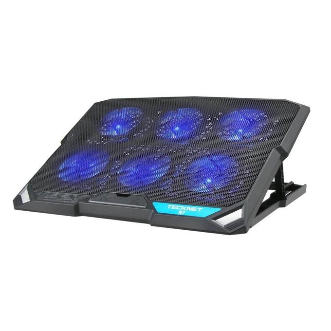 Охлаждаща поставка за лаптоп TeckNet N7 за Mac и преносими компютри, ергономична, 6 вентилаторa, черна image