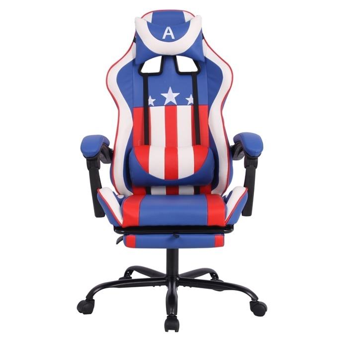 Геймърски стол RFG Max Game (ON4010200082), еко кожа, 150 кг. максимално натоварване, стоманена база, газов амортисьор, син/бял image