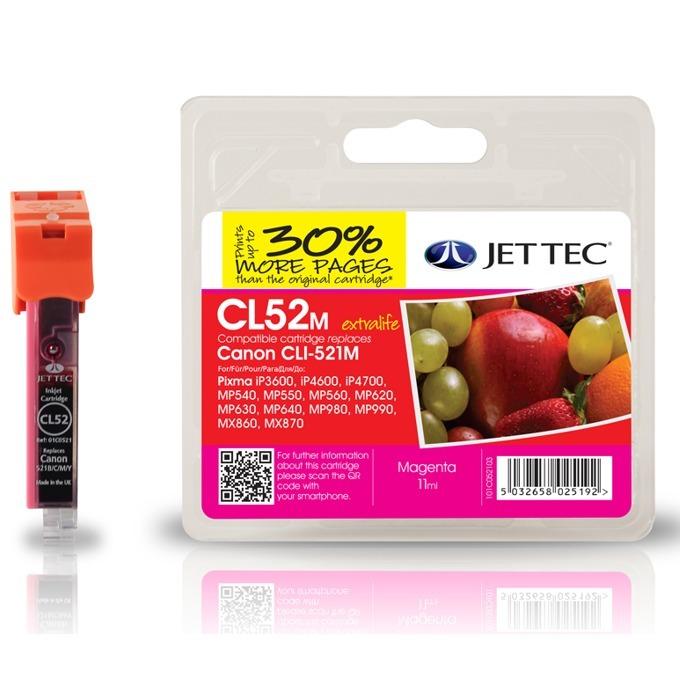 Глава за Canon CLI-521 - Magenta - Неоригинална - С чип - Jet Tec - Заб.: 11 ml image