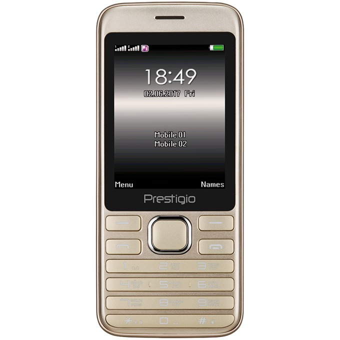 """Prestigio Grace A1 (Златист) поддържа 2 sim карти, 2.8""""(7.11cm), MT6261DA, 32MB RAM, 32MB Flash памет (+microSD слот), 0.3 Mpix camera, Bluetooth, 106g image"""