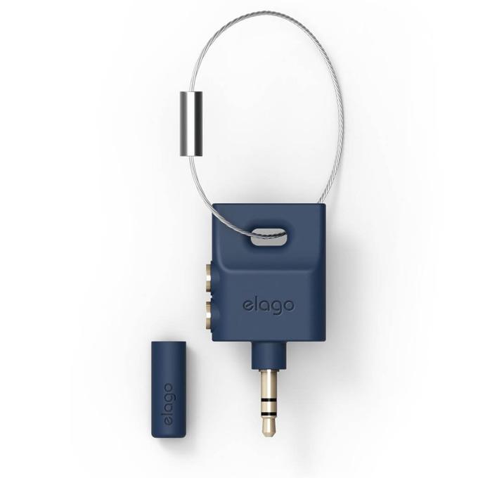 Преходник Elago Keyring Splitter, син, аудио разклонител (сплитер) за мобилни устройства с 3.5 мм стерео-жак. image