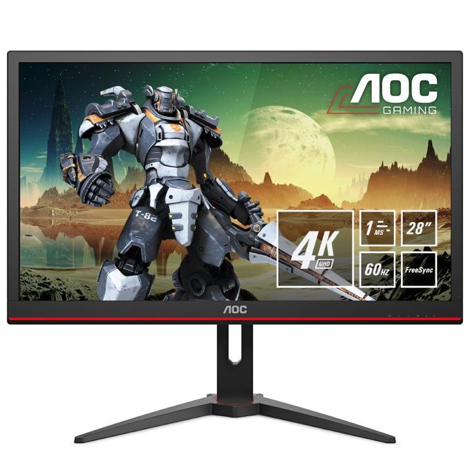"""Монитор AOC G2868PQU, 28"""" (71.12 cm) TN панел, Ultra HD, 1ms, 50000000:1, 300 cd/m2, HDMI, DisplayPort, VGA image"""