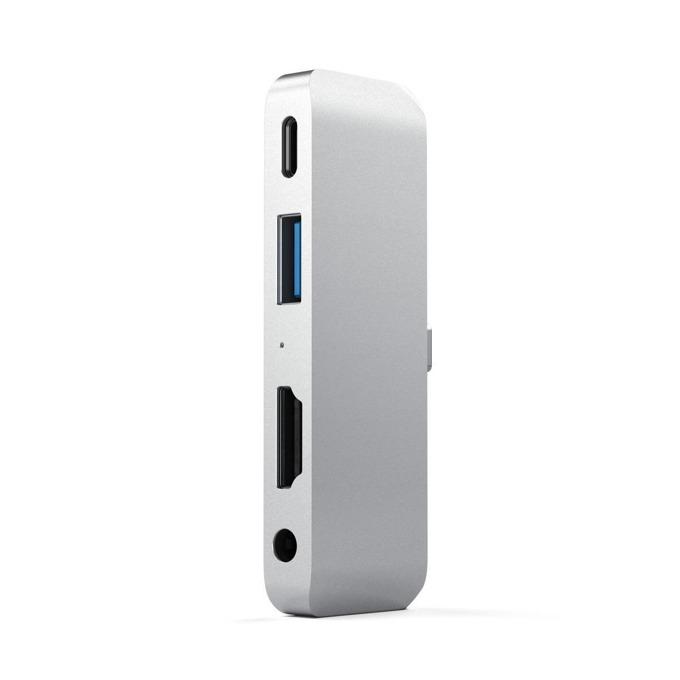 USB Хъб Satechi Mobile Pro, 1x USB Type C (м), 1x USB Type-C (ж), 1x USB 3.0 Type-A (ж), 1x HDMI 4k (ж), 1x 3.5mm jack, сребрист image