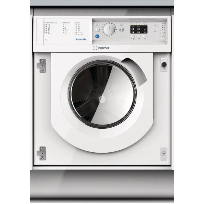 Перална машина Indesit BI WMIL 71252, клас А++, 7 кг. капацитет, 1200 оборота в минута, 14 програми на изпиране, за вграждане, 60 cm. ширина, бяла image