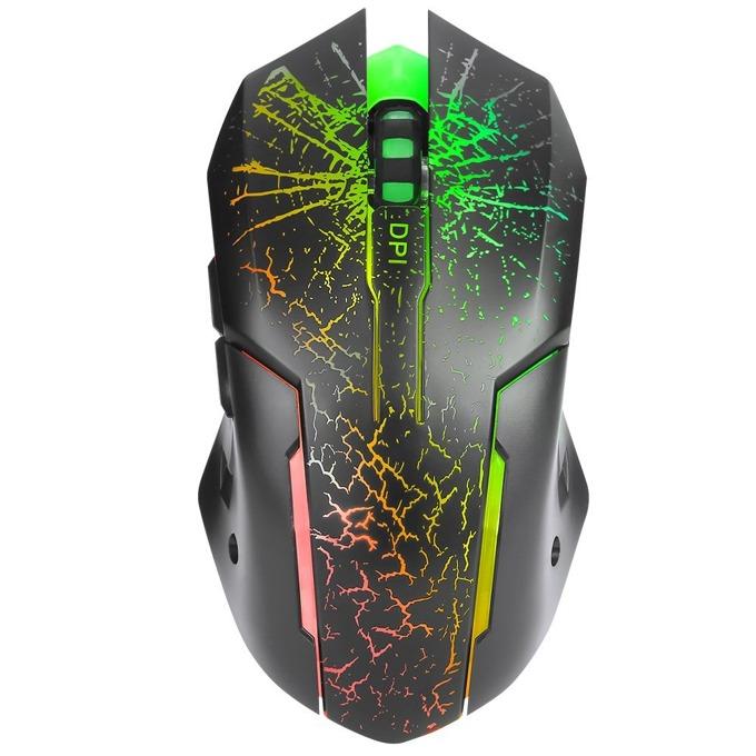 Мишка Marvo M207, оптична (3200 dpi), 6 бутона, RGB подсветка, USB, черна image