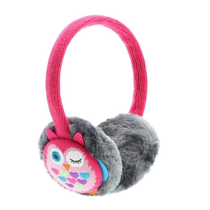 Слушалки KitSound Owl Earmuffs, розови, с ушанки image