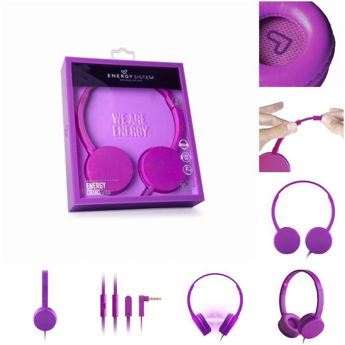 Слушалки Energy Sistem Headphones Colors Grape Mic, микрофон, 3.5 mm jack, лилави image