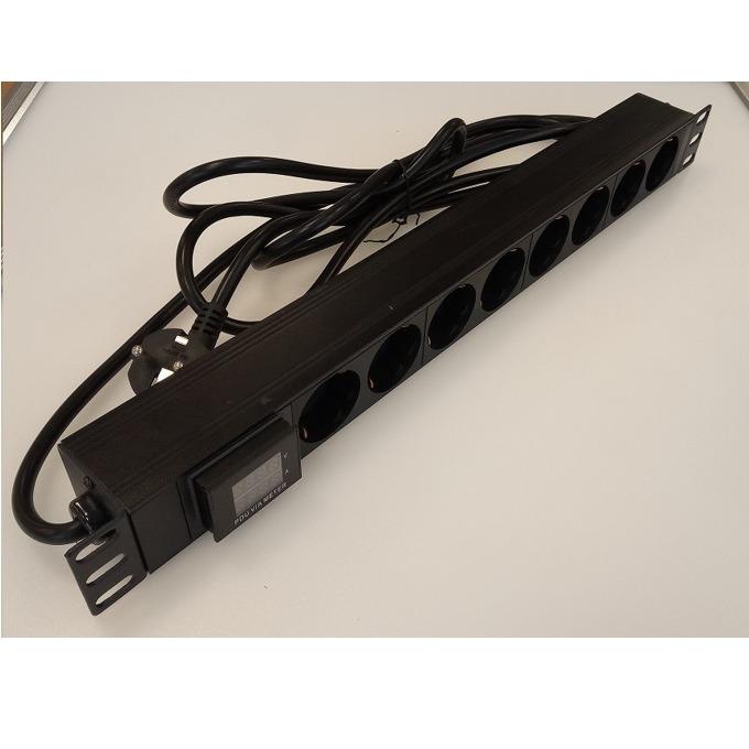 """Разклонител Tongrun 20606-01, 19"""" (48.26 cm), 8 гнезда, 3 м. кабел, черен image"""