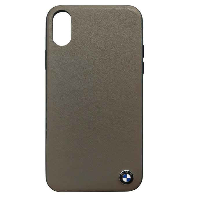 Калъф Apple iPhone X, страничен протектор с гръб, естествена кожа и поликарбонат, BMW Signature Genuine Leather Soft Case, Shock Absorbent, кафяв image