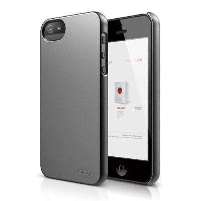 Поликарбонатов протектор Elago S5 Slim Fit 2 Case + HD Clear Film за iPhone 5, iPhone 5S, тъмносив, HD покритие image
