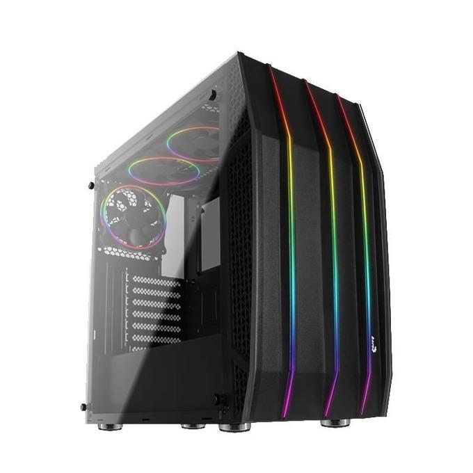 Кутия Aerocool Klaw KLAW-G-BK-V1 RGB, ATX, 1x USB 3.0, RGB контролен хъб, прозорец, черна без захранване image