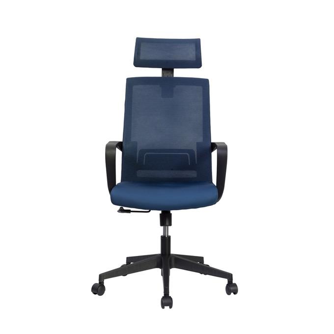 Директорски стол RFG Smart HB, дамаска и меш, тъмно синя седалка, тъмносиня облегалка image