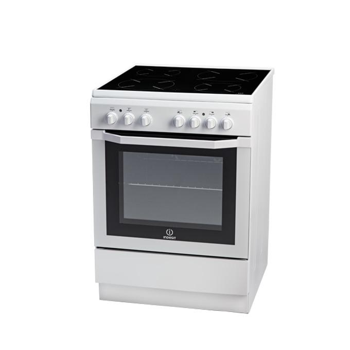 Готварска печка със стъклокерамичен плот Indesit I6VMH2A(W)/GR, клас А, 61 л. обем, 4 нагревателни зони, бяла  image