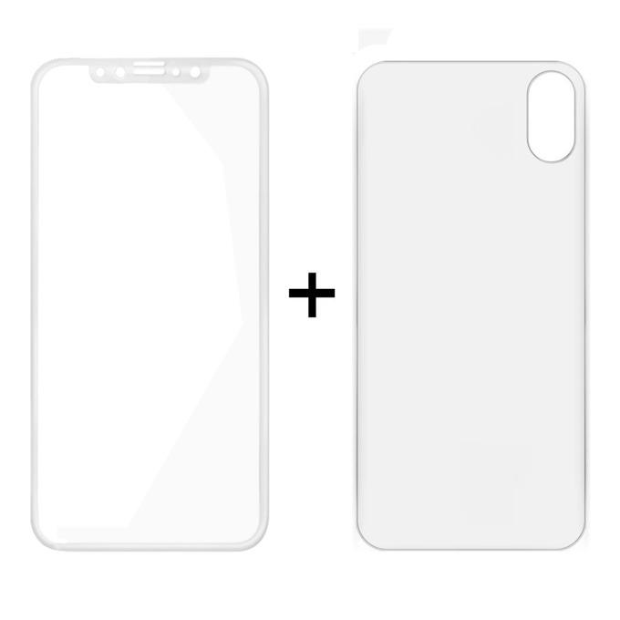 Протектор от закалено стъкло /Tempered Glass/ и гръб Remax Caesar, за Apple iPhone X смартфон, бял image
