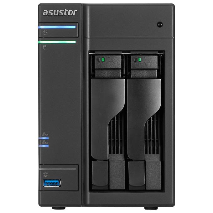 ASUSTOR AS6102T, дву-ядрен Broadwell Intel Celeron N3050 1.6/2.16 GHz, без твърд диск (2x SATA), 2GB RAM, 3x USB 3.0, 2x USB 2.0, 2x eSATA, HDMI image