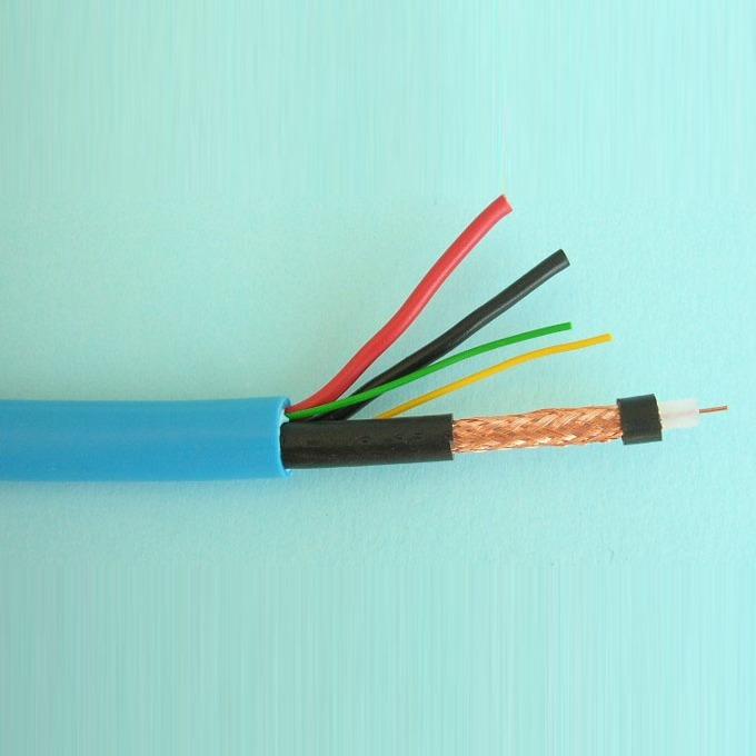 Комбиниран коаксиален кабел ELAN 082071, RG59 + 2x 0.75 + 2x 0.22, Ø 10.40 мм, 100m, син image