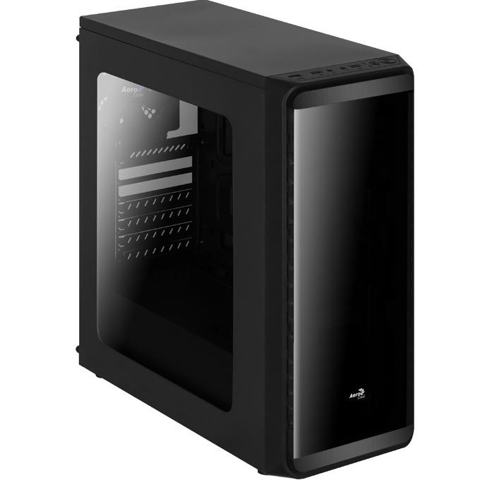 Кутия AeroCool SI-5200 Window, ATX/Micro-ATX/Mini-ITX, USB 3.0, 1x 120mm вентилатор, прозорец, черна, без захранване image