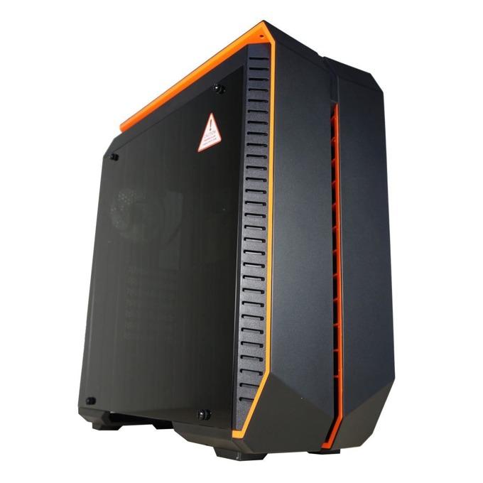 Кутия INAZA Devastator, ATX/mini/microITX, 2x USB 3.0, прозорец, черна/оранжева, без захранване image