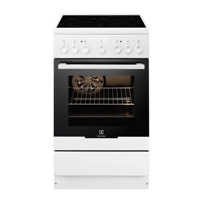 Готварска печка със стъклокерамичен плот Electrolux EKC51350OW, клас A, 56 л обем, 4 нагревателни зони, лесна за почистване, брояч, бяла  image