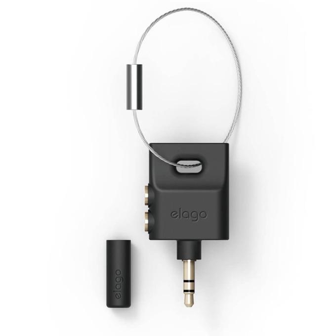 Преходник Elago Keyring Splitter- черен, аудио разклонител (сплитер) за мобилни устройства с 3.5 мм стерео-жак. image