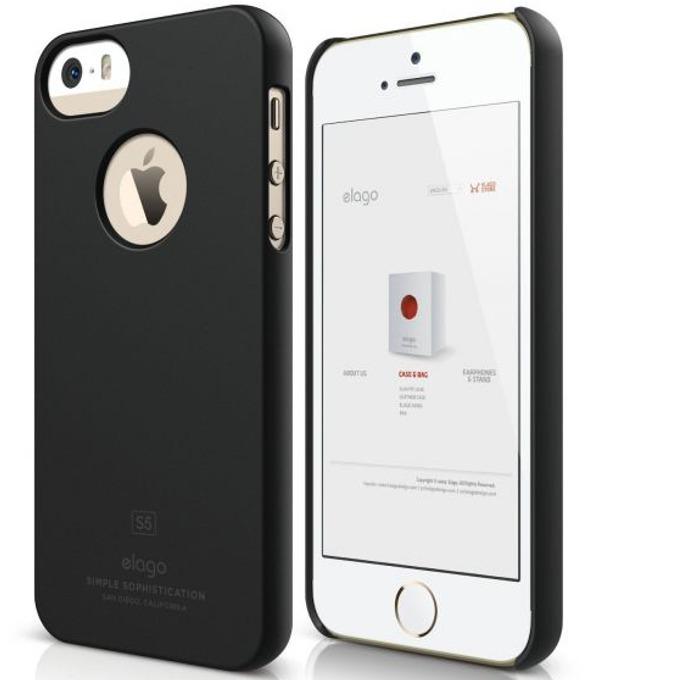 Поликарбонатов протектор Elago S5 Slim Fit Case + HD Clear Film за iPhone 5, iPhone 5S, тъмносив-мат, HD покритие image